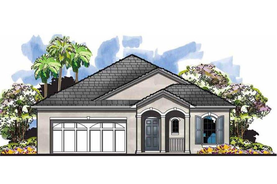 This is the front elevation for these French Country Home Plans.