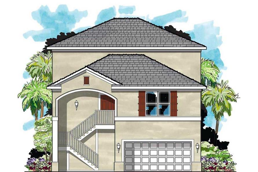 3-Bedroom, 1992 Sq Ft Mediterranean House Plan - 159-1054 - Front Exterior