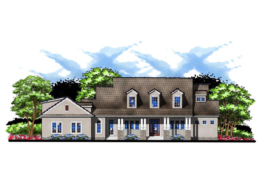 5-Bedroom, 4402 Sq Ft Country House Plan - 159-1056 - Front Exterior