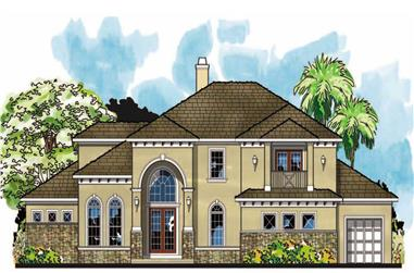 4-Bedroom, 4204 Sq Ft European House Plan - 159-1057 - Front Exterior