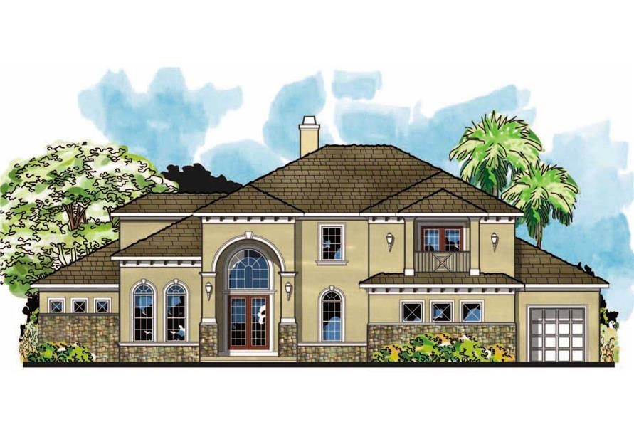 This is the front elevation for these Tuscan House Plans