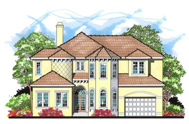 4-Bedroom, 4549 Sq Ft Mediterranean House Plan - 159-1060 - Front Exterior