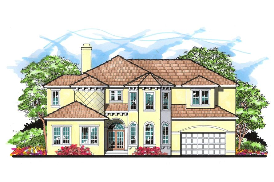 This is the front elevation for these Spanish Home Plans.