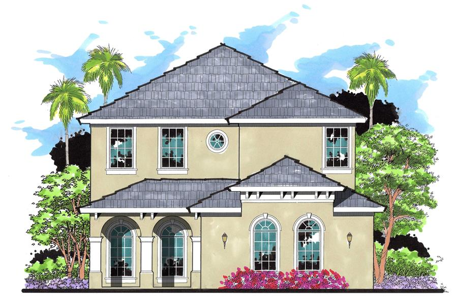 4-Bedroom, 2611 Sq Ft Mediterranean House Plan - 159-1068 - Front Exterior