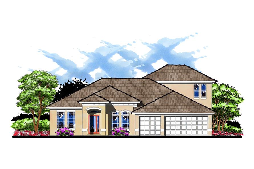 This is the front elevation for these Contemporary French House Plans.
