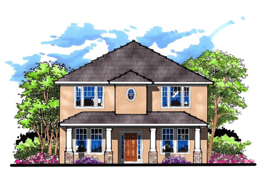 4-Bedroom, 2749 Sq Ft Mediterranean Home Plan - 159-1076 - Main Exterior