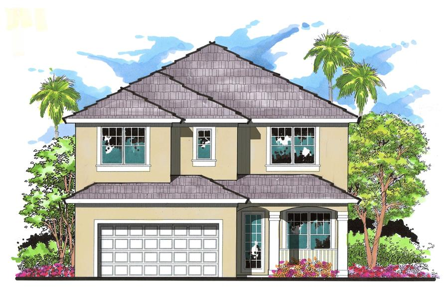4-Bedroom, 2597 Sq Ft Mediterranean House Plan - 159-1079 - Front Exterior