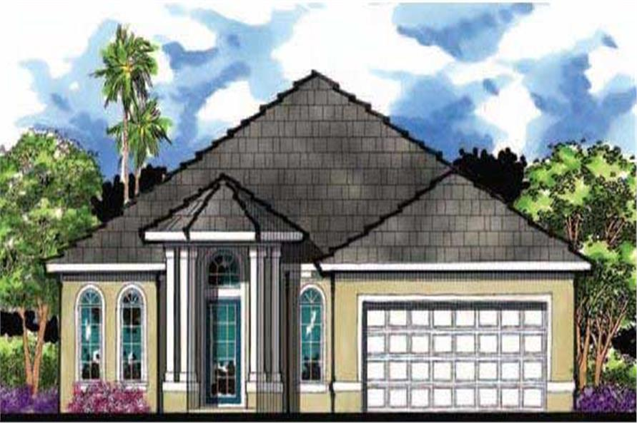 This image shows the front elevation for these Mediterranean Home Plans.