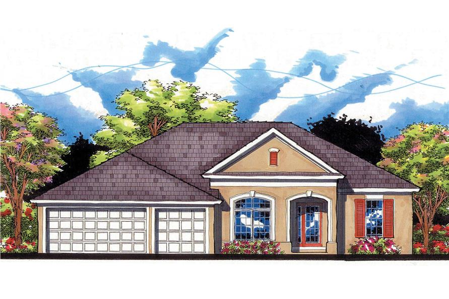 This is an artist's front rendering for these Traditional Ranch Home Plans.