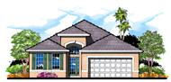 This is the front elevation for these Traditional Home Plans.