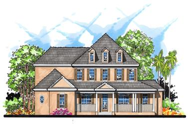 5-Bedroom, 4631 Sq Ft Colonial Home Plan - 159-1100 - Main Exterior