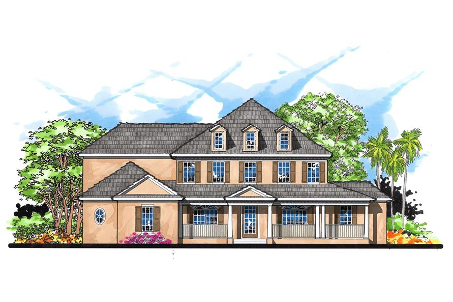 This is the front elevation for these Colonial Home Plans.