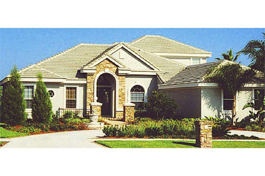 This is a color photo showing the front of this European House Plan.