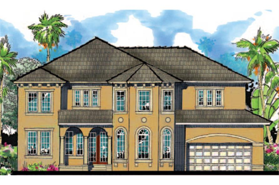 Home Plan Front Elevation of this 5-Bedroom,3517 Sq Ft Plan -159-1110