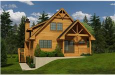 This is a 3D rendering of these Cabin House Plans.