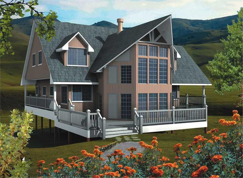 Front elevation of Log Cabin home (ThePlanCollection: House Plan #160-1004)