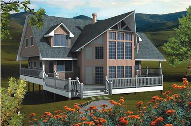 6-Bedroom, 2682 Sq Ft Log Cabin House Plan - 160-1004 - Front Exterior