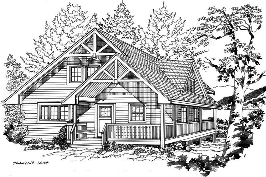 Line Drawing of this 2-Bedroom,1644 Sq Ft Plan -1644