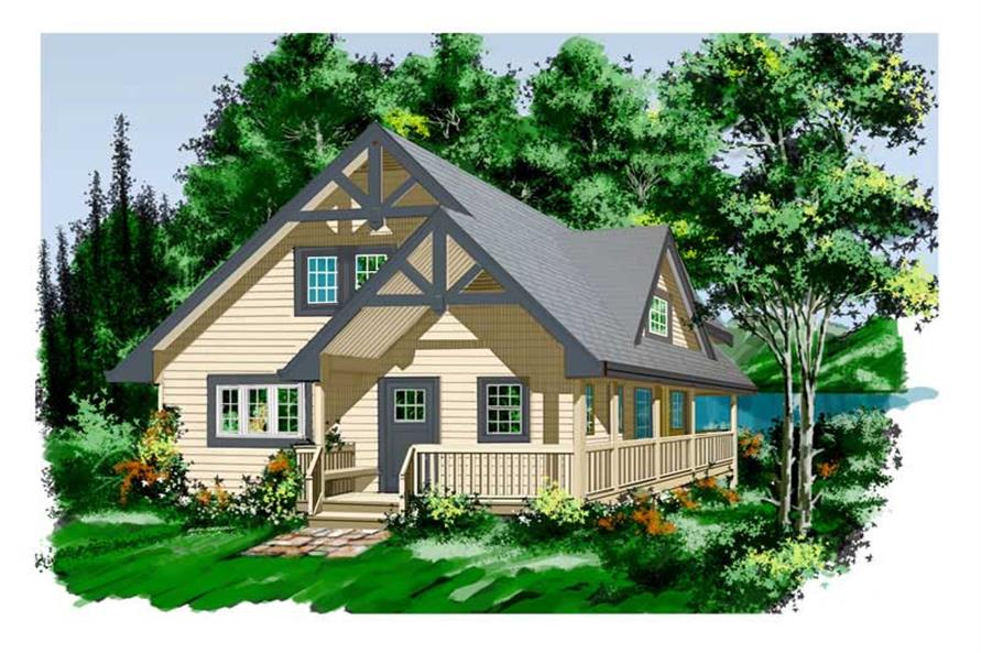 2-Bedroom, 1644 Sq Ft Log Cabin House Plan - 160-1005 - Front Exterior