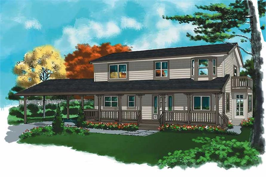 3-Bedroom, 2215 Sq Ft Country Home Plan - 160-1006 - Main Exterior
