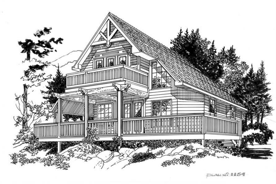Line Drawing of this 2-Bedroom,1154 Sq Ft Plan -1154