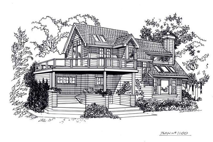 Line Drawing of this 3-Bedroom,1235 Sq Ft Plan -1235