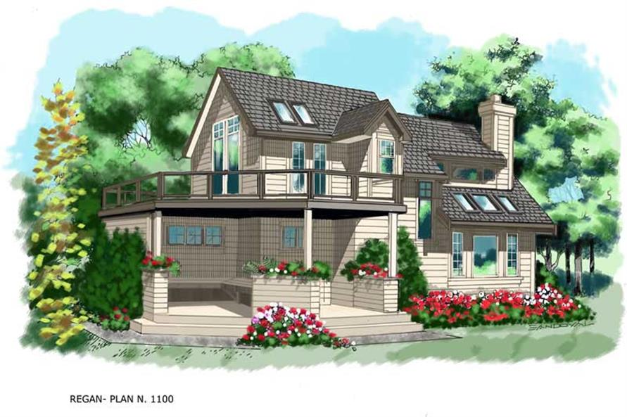 160-1009: Home Plan Rendering-Front View