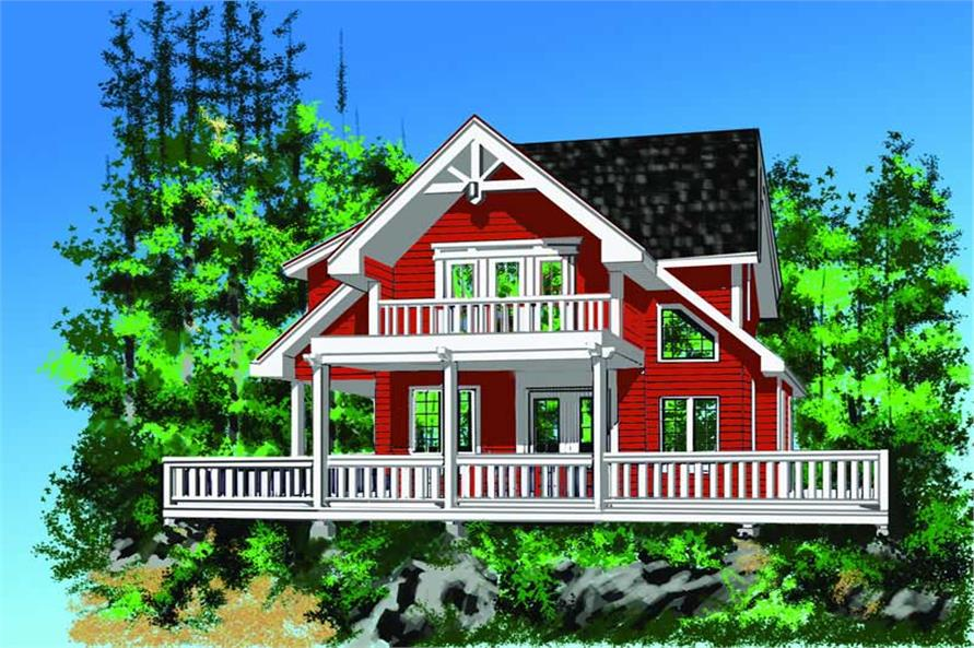 2-Bedroom, 1286 Sq Ft Log Cabin House Plan - 160-1010 - Front Exterior