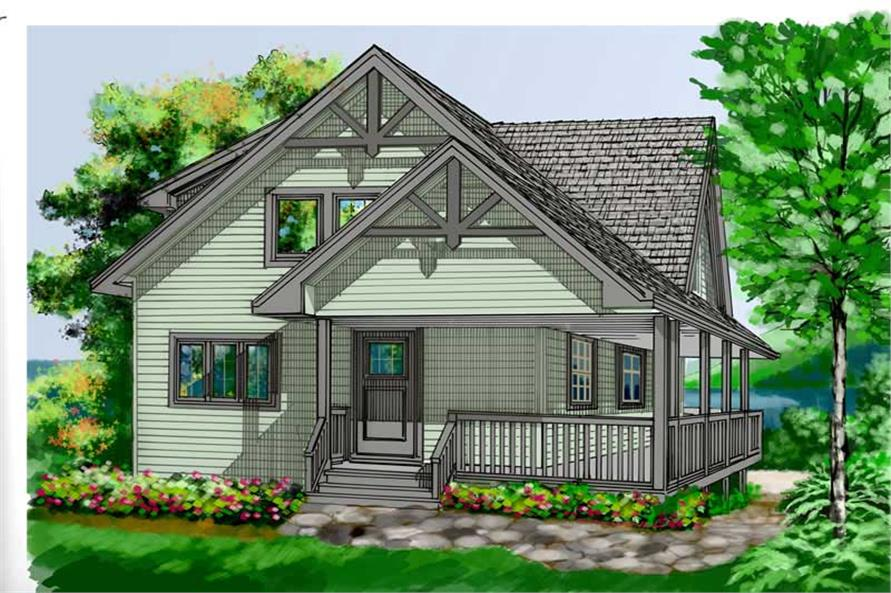 5-Bedroom, 1550 Sq Ft Log Cabin Home Plan - 160-1013 - Main Exterior