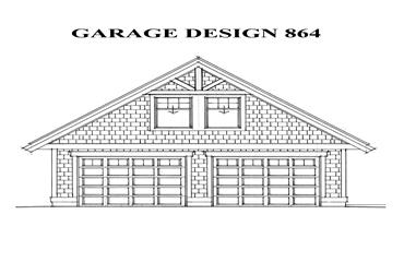 0-Bedroom, 864 Sq Ft Garage House Plan - 160-1016 - Front Exterior