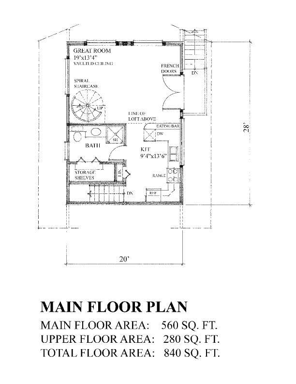 Cape cod floor plan 1 bedrms 1 baths 840 sq ft 160 for 840 sq ft house plans