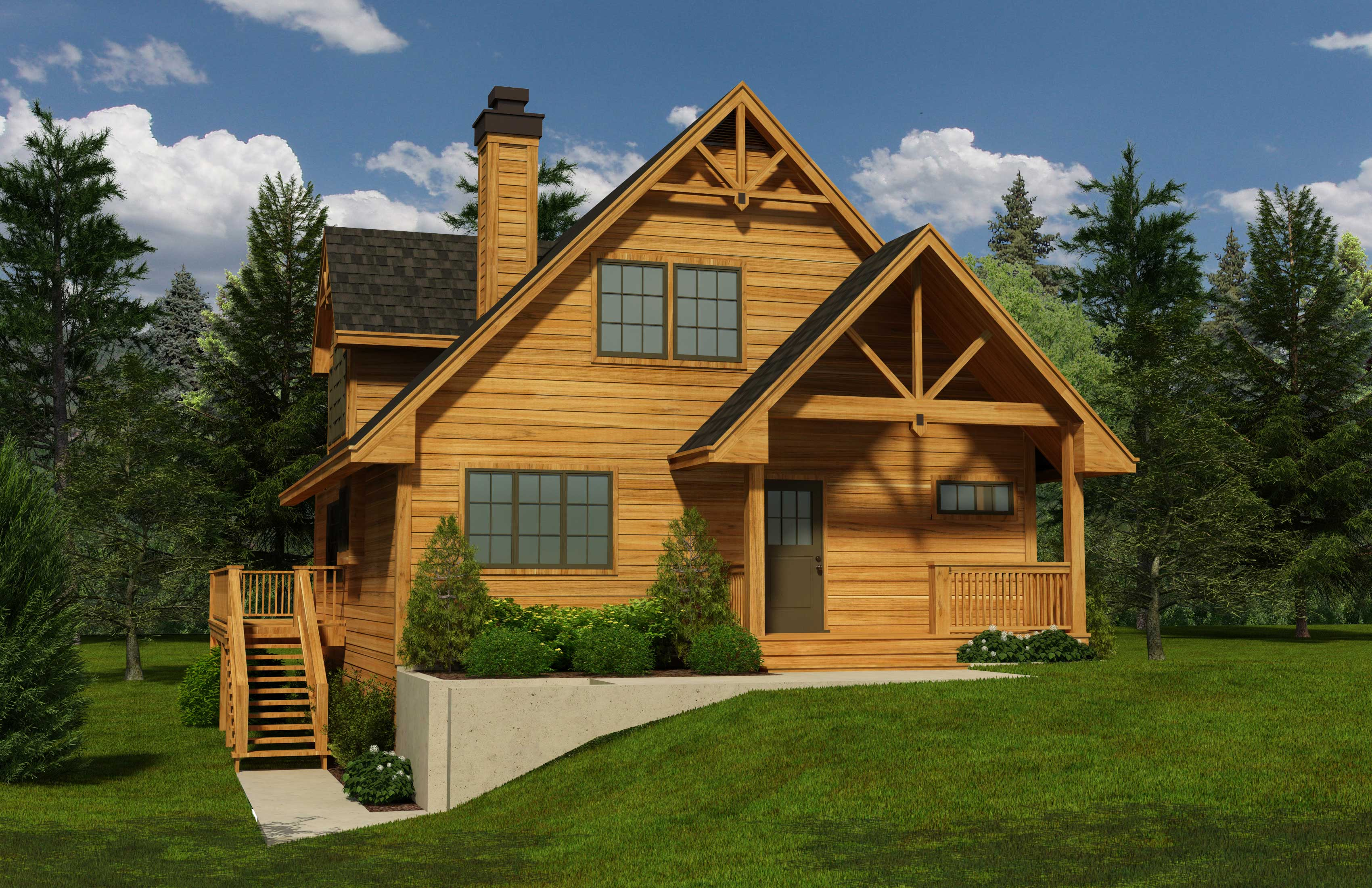 Log abin House Plans - Home Design 1741 - ^
