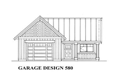 580 Sq Ft Garage Plan - 160-1019 - Front Exterior