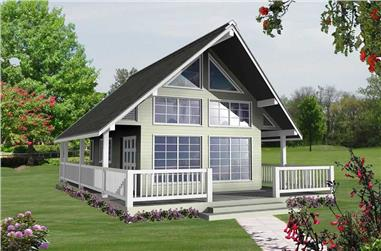 Front elevation of Small House Plan (ThePlanCollection: House Plan #160-1020)