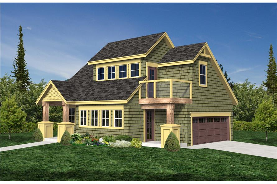 This is the front elevation of this set of garage plans.