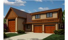 Front elevation of Garage w/Apartments home (ThePlanCollection: House Plan #160-1026)