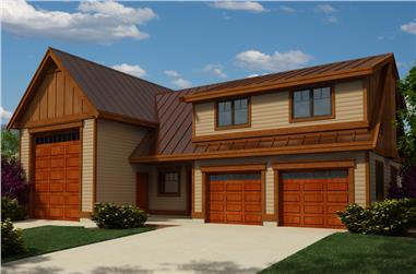 2-Bedroom, 1173 Sq Ft Garage w/Apartments Home Plan - 160-1026 - Main Exterior