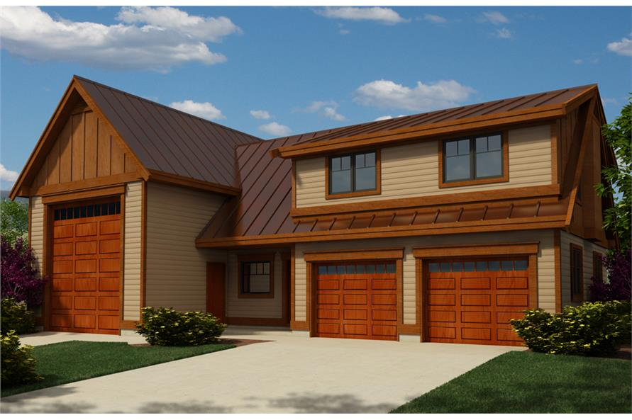 2-Bedroom, 1173 Sq Ft Garage w/Apartments Home Plan - 160-1026 - Main Exterior
