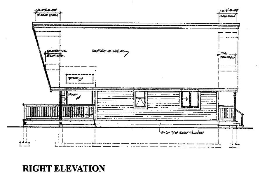 160-1027: Home Plan Right Elevation