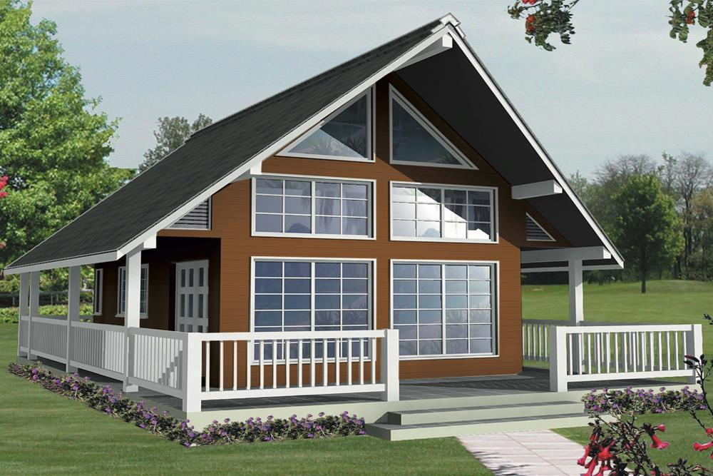 Front elevation of Contemporary home (ThePlanCollection: House Plan #160-1027)