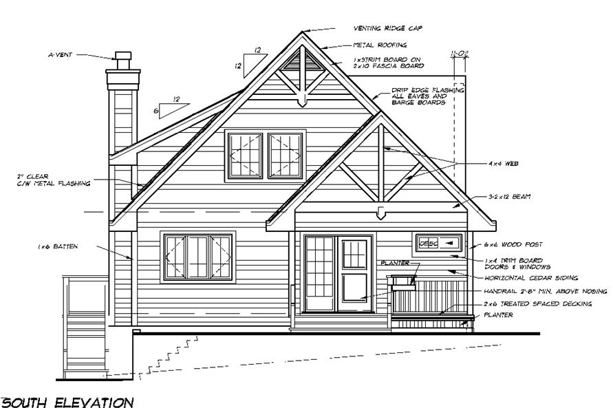 Home Plan Rear Elevation of this 5-Bedroom,1662 Sq Ft Plan -160-1029