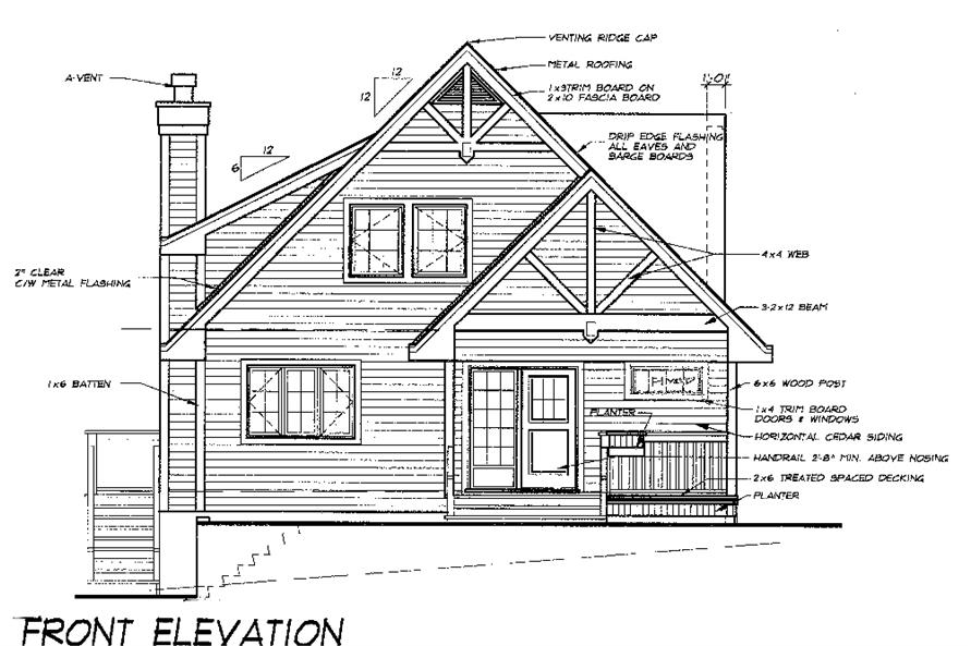 Home Plan Front Elevation of this 5-Bedroom,1674 Sq Ft Plan -160-1031