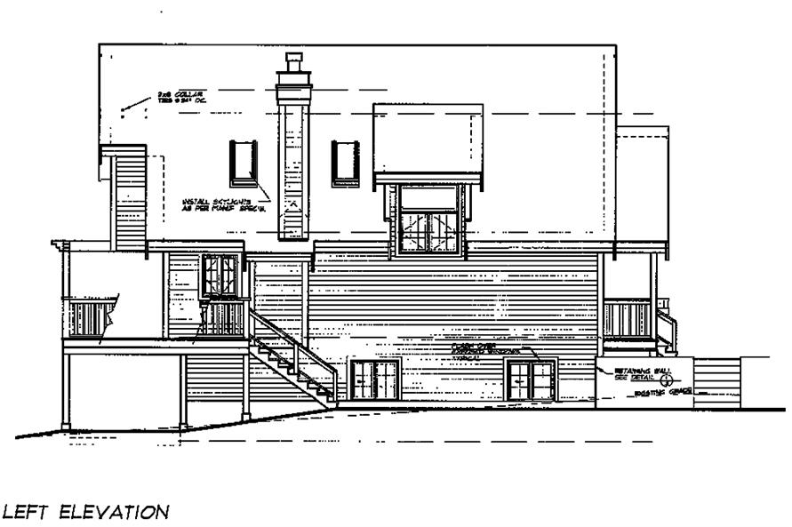 Home Plan Left Elevation of this 5-Bedroom,1674 Sq Ft Plan -160-1031