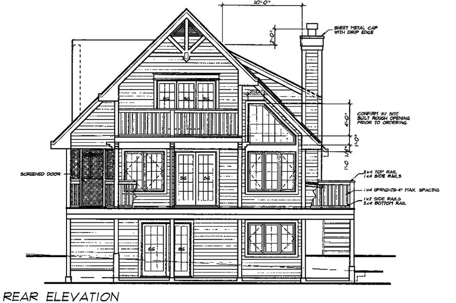 Home Plan Rear Elevation of this 5-Bedroom,1674 Sq Ft Plan -160-1031