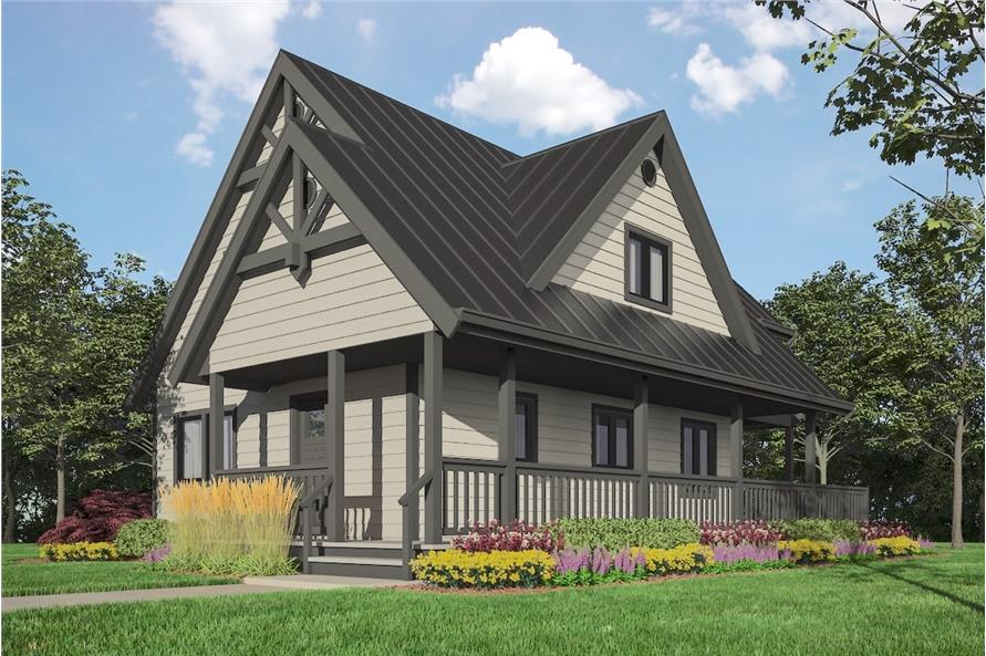 3-Bedroom, 1343 Sq Ft Cottage Home Plan - 160-1033 - Main Exterior