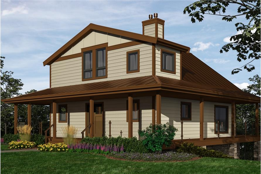 2-Bedroom, 2432 Sq Ft Cottage Home Plan - 160-1035 - Main Exterior