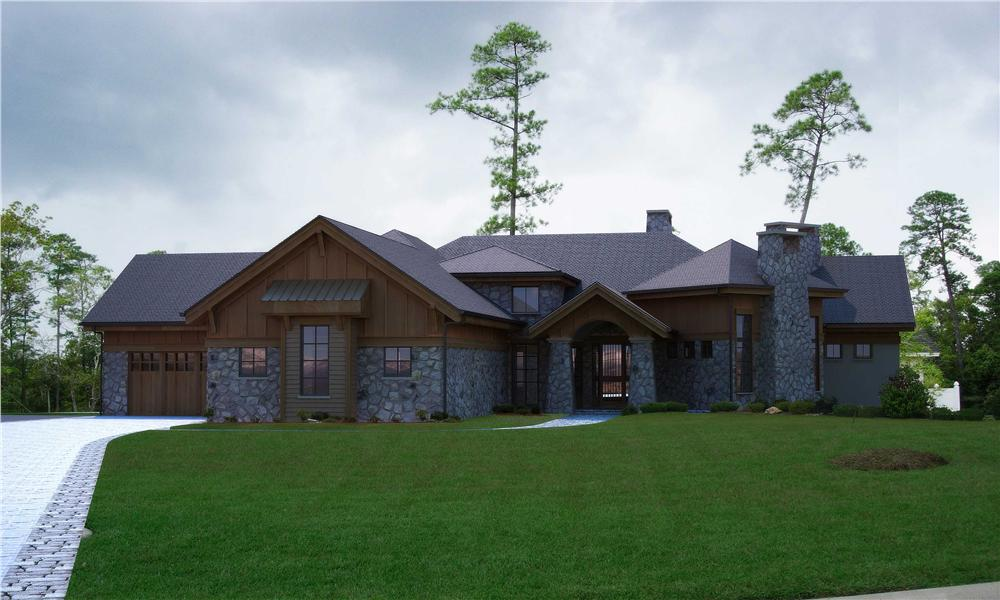Front elevation of Rustic home (ThePlanCollection: House Plan #161-1002)