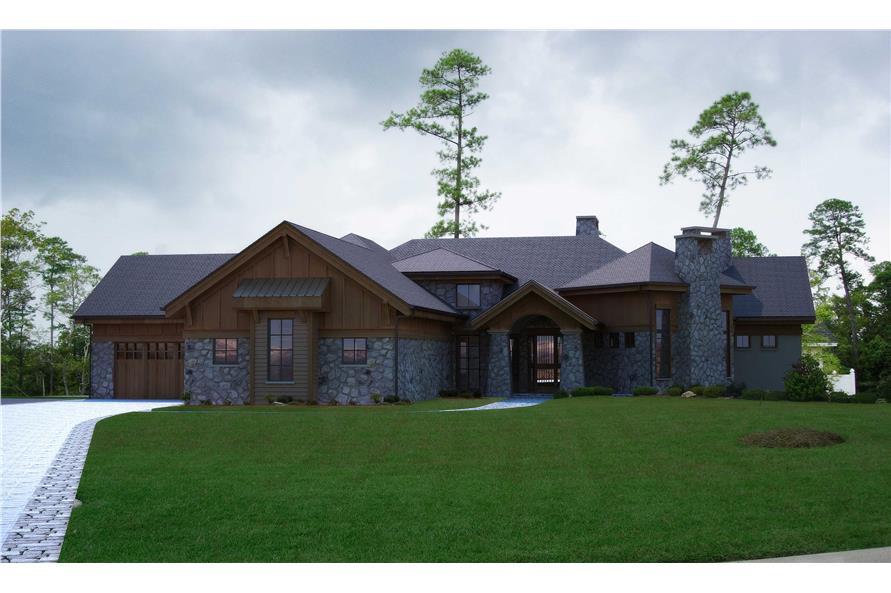 4-Bedroom, 4749 Sq Ft Rustic Home Plan - 161-1002 - Main Exterior