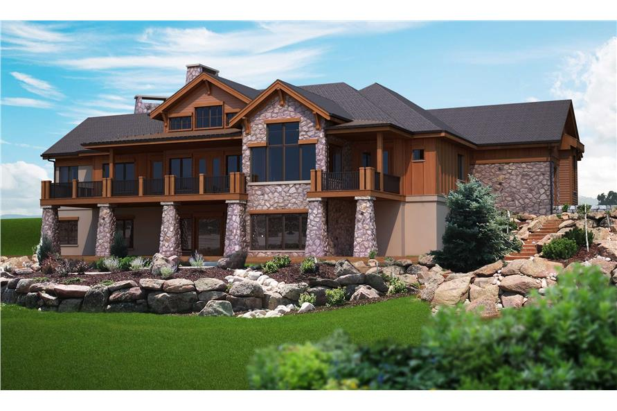 Home Plan Rear Elevation of this 4-Bedroom,4749 Sq Ft Plan -161-1002