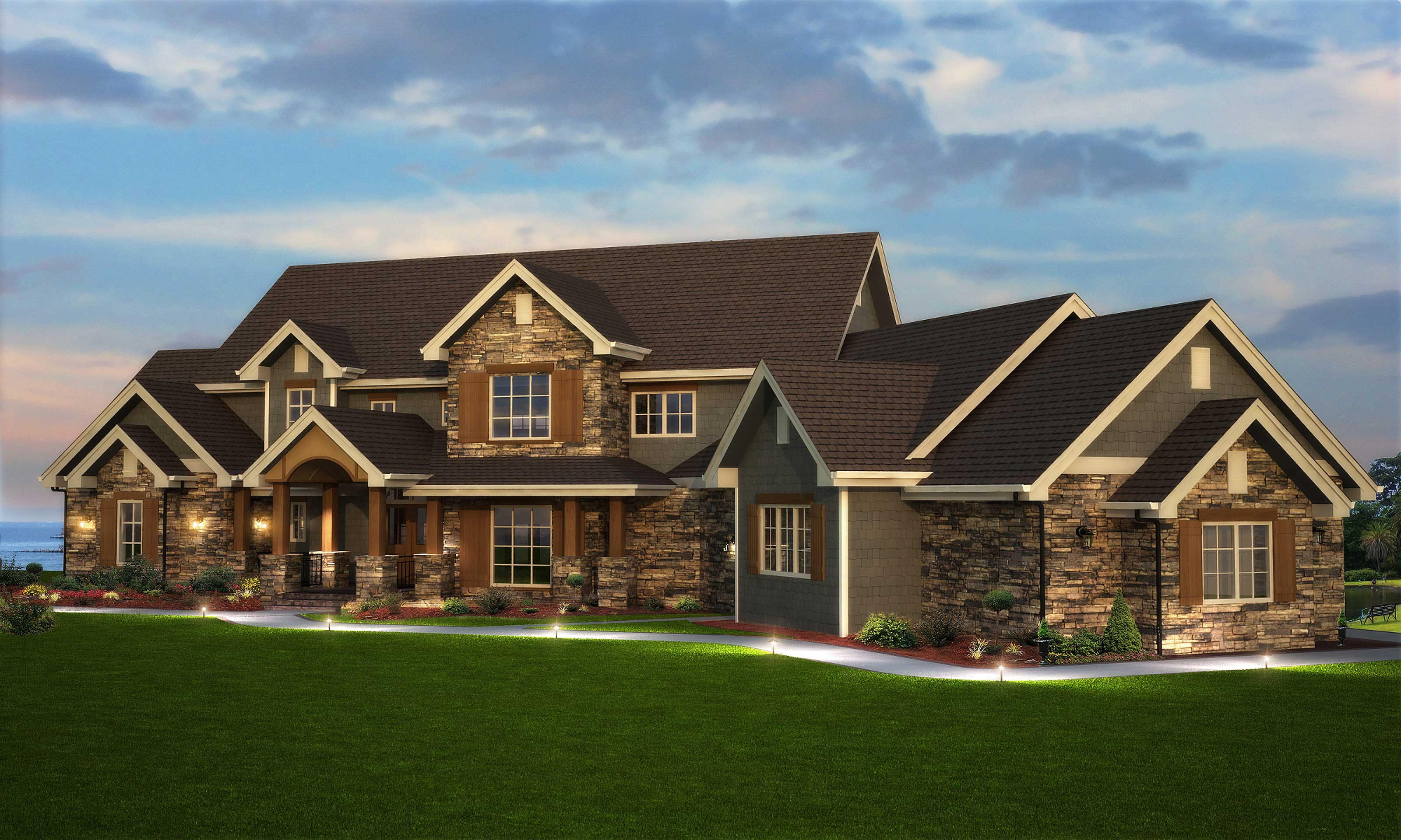 5 Bedroom House Plan - Luxury, Transitional Style - 5164 Sq Ft